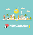 new zealand poster with symbols landmarks vector image vector image