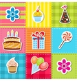 patchwork with birthday party elements vector image vector image