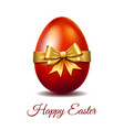 red easter egg tied gold ribbon vector image vector image