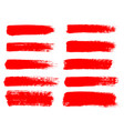 red paint ink brush stroke brush line or vector image vector image