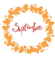 red September lettering in a frame of leaves vector image