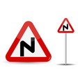 Road sign warning dangerous turns in red triangle