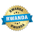 Rwanda round golden badge with blue ribbon vector image vector image
