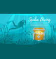 scuba diver explores treasure chest vector image vector image