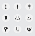 set of 9 editable barbershop icons includes vector image