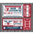 Set of vintage basketball tickets vector image