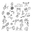sport doodle art icon set thin line icon for sea vector image