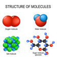 structure of molecules oxygen gas water vector image vector image