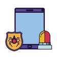 tablet with shield and siren isolated icon vector image