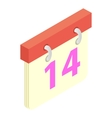 Valentines day calendar isometric 3d icon vector image vector image