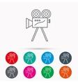 Video camera icon Retro cinema sign vector image
