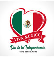viva mexico independence day heart banner vector image