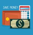 wallet with bills dollars and calculator vector image vector image