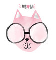 watercolour pink funny cat idea for card vector image vector image