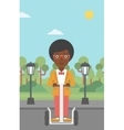 Woman riding on electric scooter vector image vector image