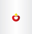 red heart with star logo icon vector image
