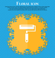 Paint roller icon Floral flat design on a blue vector image