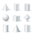 3d shapes white set vector image
