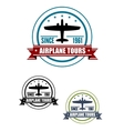 Airplane travel tours icon with plane vector image vector image