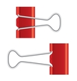 Binder clips Red paper clip Real metal icon vector image vector image
