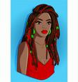 black girl with dreadlocks vector image