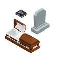 burial set Open wood coffin with dead Holy Bible vector image vector image