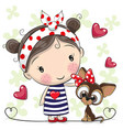 cute cartoon puppy and a girl vector image vector image