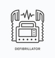 defibrillator flat line icon outline vector image vector image