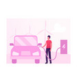 eco transport concept man charging electric car vector image
