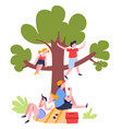 family picnic under tree outdoor summer activity vector image vector image