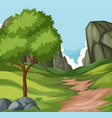 flat nature road to the hill vector image