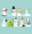 funny snowman christmas character isolated set vector image