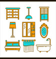 furniture pieces set in graphic design isolated on vector image