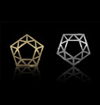 gold and silver pentagon 2 vector image vector image