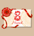greeting card for 8 march international womens day vector image
