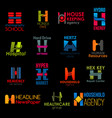 h letter icons clinic business corporate identity vector image vector image