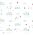 hand draw clouds and butterflies childish vector image