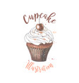 hand drawn cupcake with vector image vector image