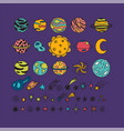 hand drawn planets stars asteroids and other vector image vector image
