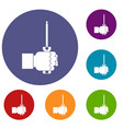 hand holding screwdriver tool icons set vector image vector image