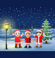 happy kid wearing santa costume in the snowing hil vector image vector image