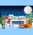 happy kids with santa claus and elf riding his sle vector image