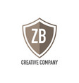 initial letter zb shield design loco concept vector image vector image