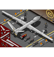 Isometric Drone Airplane Landed in Rear View vector image vector image