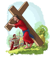 jesus christ carrying cross christian vector image vector image