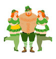 leprechaun and beautiful girls kiss me im irish vector image vector image