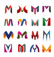 leter m icons and symbols vector image