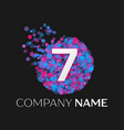 number seven logo with blue purple particles vector image vector image