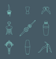 outline icons barman instruments set vector image