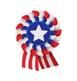 Ribbon rosette in the USA flag colors cartoon icon vector image vector image